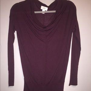 Loft Burgundy Cowl Neck Sweater